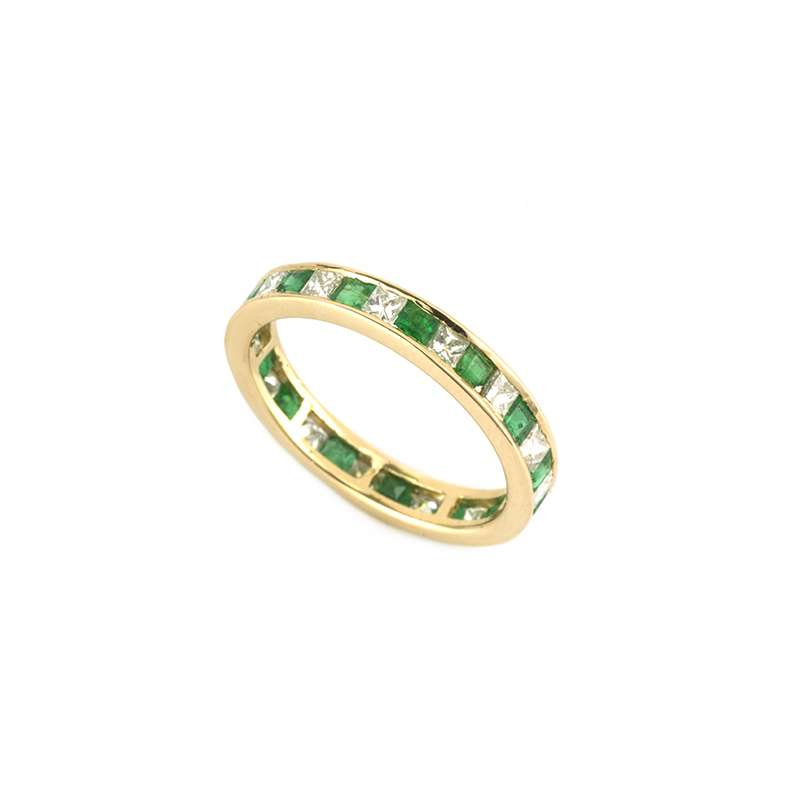 18k Yellow Gold Emerald and Diamond Eternity Ring